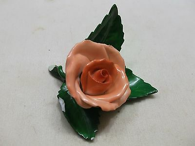 VINTAGE HEREND HUNGARY HANDPAINTED ROSE FLOWER PLACE CARD HOLDER AS IS CHIPPED