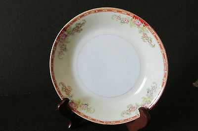 "VINTAGE ""OGDEN"" GRACE/ROYAL CHESTER CHINA -1 COUPE BOWL -Pink Flowers, Red Band"