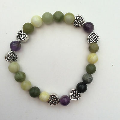 Connemara marble and amethyst bracelet.Celtic Irish gemstone jewellery Valentine