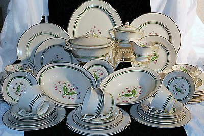 SURACUSE CHINA OLD IVORY CORALBEL DINNERWARE 49 pcs USA RIMMED DISCOUNTED