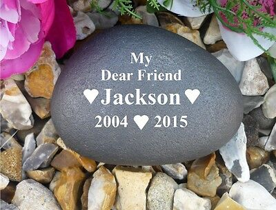 Pet Dog Memorial Pebble (Stone effect) Personalised - Weatherproof - Hearts