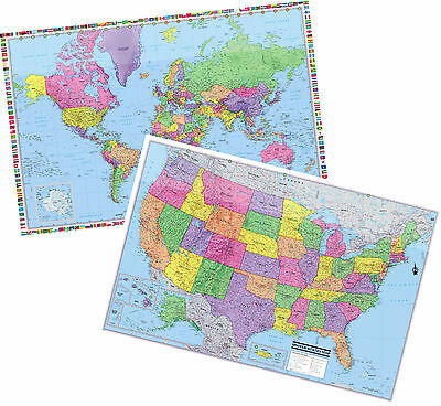 """UNITED STATES & World Wall Maps Posters - 2 Rolled Laminated Maps 36""""x24"""""""