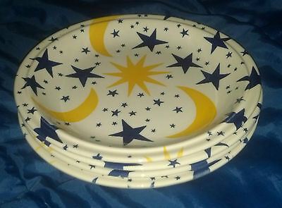 Grindley FRIENDLY SKY 4 Salad Luncheon Plates Moon Stars Celestial Staffordshire