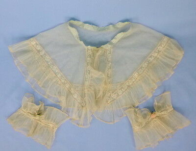 Vintage 1920s Bed jacket Collar & Cuffs ivory netting insert lace handmade roses
