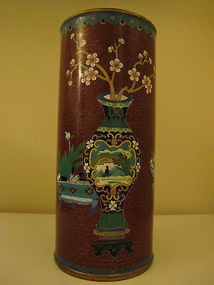ANTIQUE CHINESE CLOISONNE EIGHT LUCKY SIGNS VASE WITH QIANLONG MARK