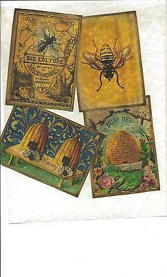 LOT OF~12 Vintage look LABELS~Grungy labels ~Bee Happy~set 2