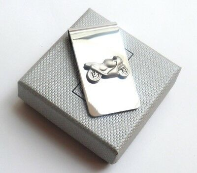 MOTOR BIKE MONEY CLIP Rhodium Plated Plain SHINY SILVER Style in a GIFT BOX-NEW