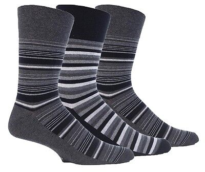 3 Pairs Mens Sock Shop Gentle Grip Black Grey Stripe Cotton Everyday Socks, 6-11