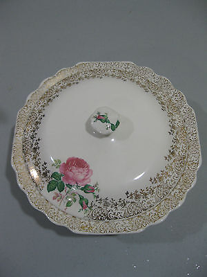 "W S GEORGE  ""LIDO WHITE"" PINK ROSE COVERED CASSEROLE VEGETABLE"