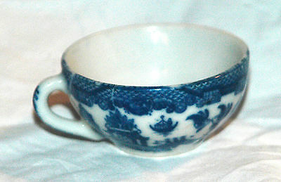 RARE PETITE FLOW BLUE  ANTIQUE BUFFALO CHINA BLUE WILLOW TEA CUP MADE IN JAPAN