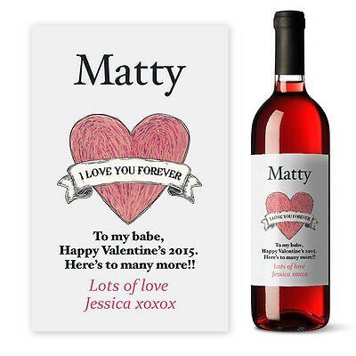 Valentines Day I love you wine label Personalised gift