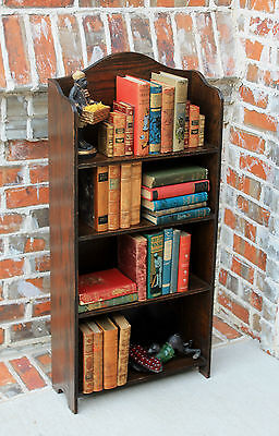 Antique English PETITE Dark Oak Arts & Crafts Era Bookcase Book Stand Book Rack