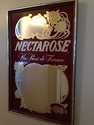 "Vintage Barton & Guestier French Wine ""Nectarose"" Framed Mirror Sign"
