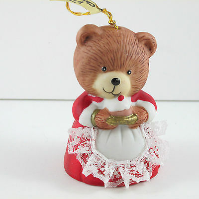 L'il Chimer Bell Mom Bear Hanging Christmas Ornament Handpainted  a