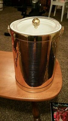 Vintage GEORGES BRIARD Mid Century  Classic Ice Bucket BAR COCKTAIL Gold Signed