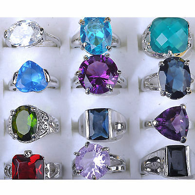 High 5X Wholesale Jewellery Mixed Silver Plated Crystal Rhinestone Rings Bulks