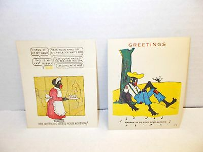 """2 - Early Vintage Black Americana Greeting Cards Funny Risque 4""""x 5"""""""