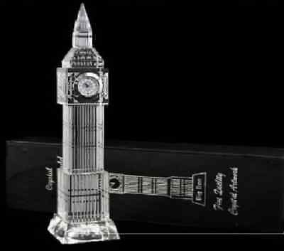 Big Ben Crystal Glass Clock 3D Laser Multi Lights London Souvenir Ornament 23CM