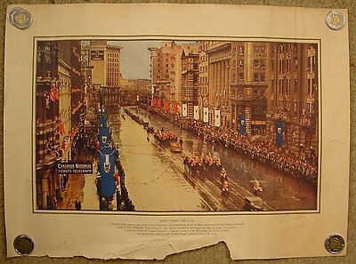 Color Photograph of King George VI Visit to Winnipeg 1939 /Portage & Main North