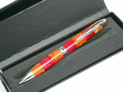 "LADIES CHUNKY PEN - ""RUST & RASPBERRY"" 14cms Refillable Metal Ballpoint in a BOX"