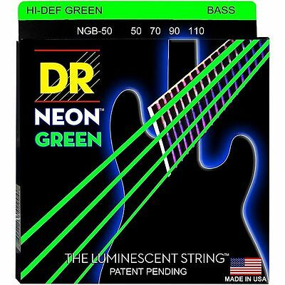 DR NGB-50 NEON HiDef GREEN COATED BASS STRINGS, HEAVY GAUGE 4's- 50-110