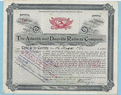 Atlantic and Danville Railway Company, share certificate dated 1895.