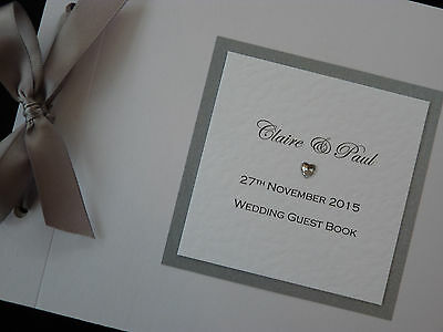 Personalised Handmade Wedding Card Guest Signing Book with gem heart