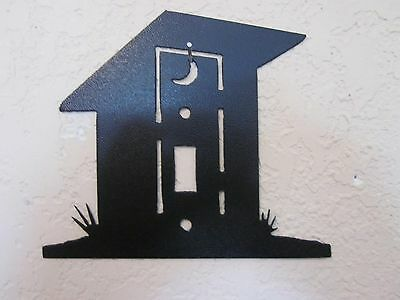 Custom Out House Single Switch Plate Steel Textured Black Powder Coat Finish