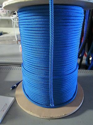 "1/4"" X 100' Sail,Halyard Line, Jibsheets, double braid rope Royal Blue 2100 lb"