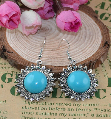 Jewelry Noble Classical hot cute Turquoise tibet silver hook Earrings H-1833