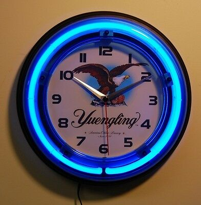 Yuengling beer logo blue neon logo wall clock, new in the box