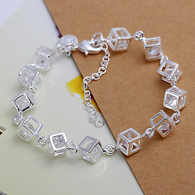 Fashion Women 925 Sterling Silver Plated Charm Box Crystal Chain Bangle Bracelet