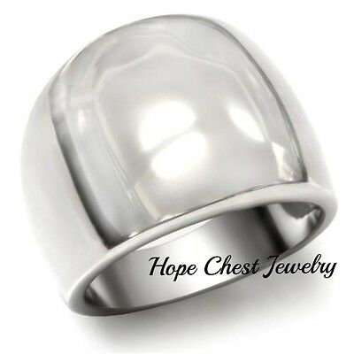 Women's Silver Tone Stainless Steel Dome Style Modern Cocktail Ring Size 5-10