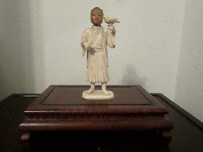 Vintage Hand-carved Japanese Bone Figurine on a Wood Stand