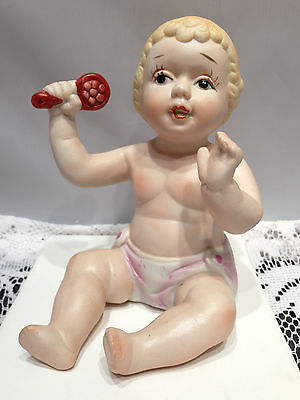 Vintage Porcelain Handpainted Piano Baby Sitting With Hairbrush Piano Doll