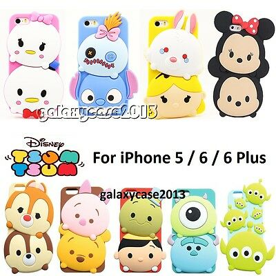 3D Cute Disney Soft Silicone Rubber Full Back Case For iPhone 5 / 5S / 6 / Plus