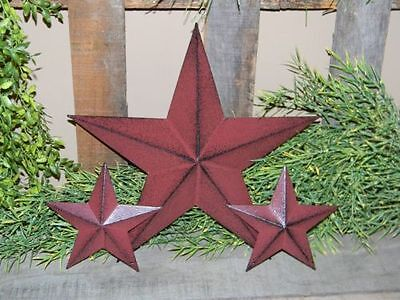 "Set of 3  12"" 5 1/2"" BURGUNDY BLACK BARN STARS Metal Tin  Primitive Country 5.5"""