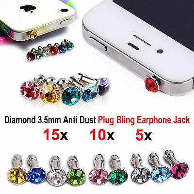 3.5mm Jack Diamond Bling Charm Anti Dust Plug For iPhone 6s 5 Samsung Galaxy HTC
