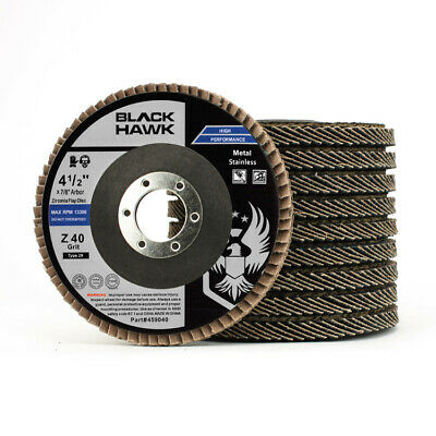 "10 Pack 4.5"" x 7/8"" Black Hawk 40 Grit Zirconia Flap Disc Grinding Wheels T29"