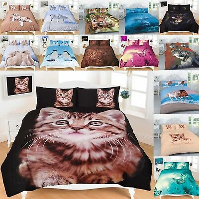 3D Animal Duvet Quilt Cover With Pillow Case All Size single double super King