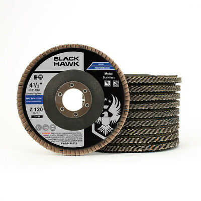 "10 Pack 4.5"" x 7/8"" Black Hawk 120 Grit Zirconia Flap Disc Grinding Wheels T29"