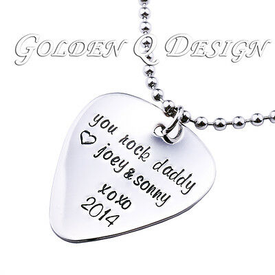 Personalised Stainless Steel Guitar Pick Necklace Birthday Fathers Day Gift D208