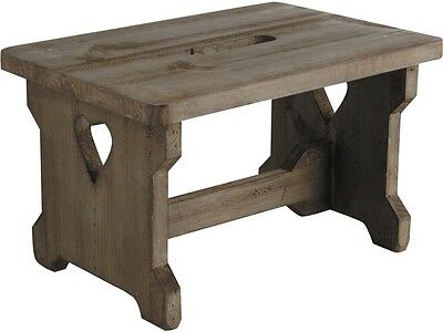 Small Shabby Wooden Step Stool Vintage Style Heart Detail Childrens Kids Seat