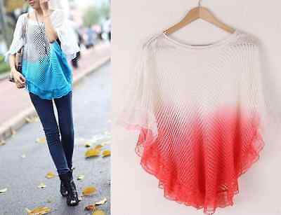 New Fashion Women Lady Knit Loose Batwing Lace Tops Sweet Blouse Pullover Shirt