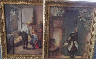 Vintage Country Home & Garden Party Gold Framed Art Painting 2 Pictures $5.50 SH