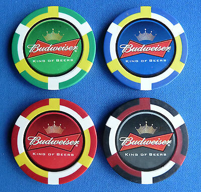 4 BUDWEISER Casino Poker Chip  GOLF BALL MARKERS