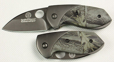 Smith & Wesson Camouflage Folding Saber Pocket Knife Fishing Camping Rescue k66m