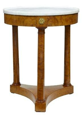Late 19Th Century Empire Influenced Round Birch Marble Top Occasional Table