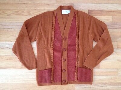 Rare Vintage Men's Cardigan Sweater Mid-Century Suede Leather & Acrylic Medium M