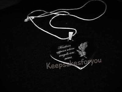 Personalised Engraved Necklace - Memorial Remembrance Gift With Engraved Feather